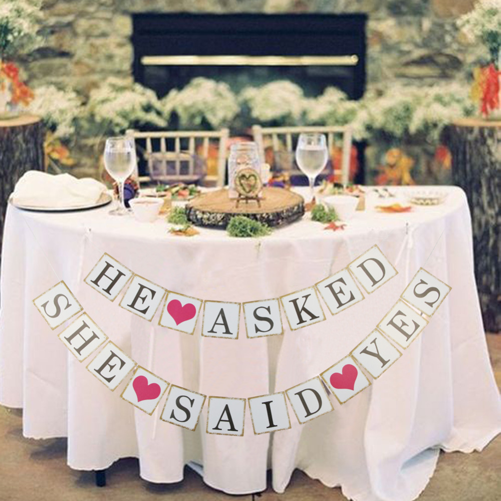 HE ASKED SHE SAID YES Card Paper Banner Bunting Wedding Sign Rustic Paper Photo Props Garland Bridal Shower Engagement Party