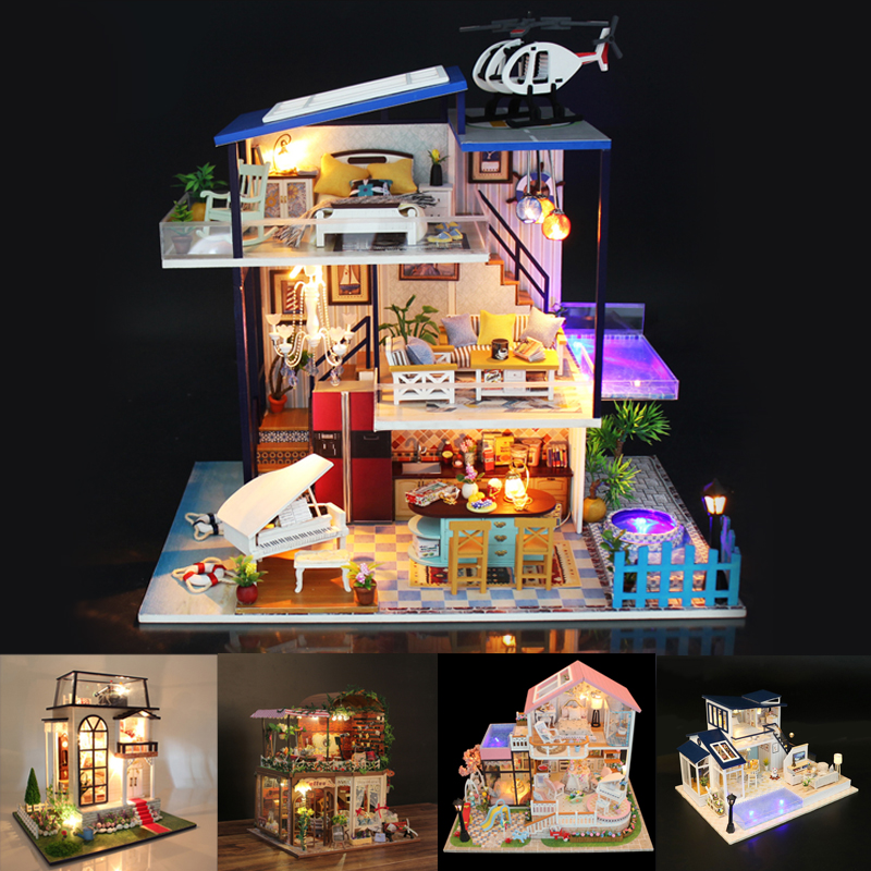 Doll House Furniture Diy Miniature Dust Cover 3D Wooden Miniaturas Dollhouse Toys Creativ luxury Birthday Gifts Box theater casaDoll House Furniture Diy Miniature Dust Cover 3D Wooden Miniaturas Dollhouse Toys Creativ luxury Birthday Gifts Box theater casa
