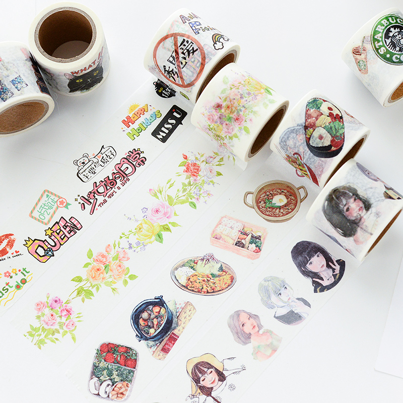 10Designs Flowers/Girls/Cake/Cat/Book/FOOD Pattern Japanese Washi Decorative Adhesive DIY Masking Paper Tape Sticker Label