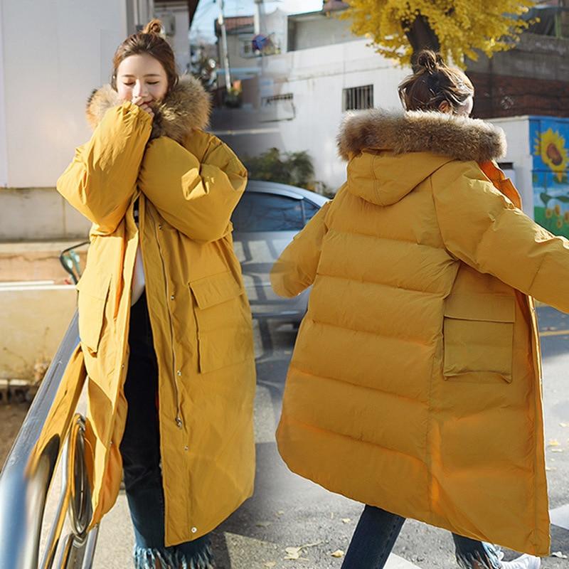 Fourrure À Gray Capuchon yellow Sur Col Long Green Manteau Le Lâche Genou Chaud Grand Femmes Tq099 Épais Coton Extérieure Nouveau D'hiver De 2018 Veste qz41x4w