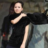 Luxury Women's Genuine Real Knitted Mink Fur Scarves with Tassels Lady Pashmina Wraps Autumn Winter Women Fur Shawls VK0546