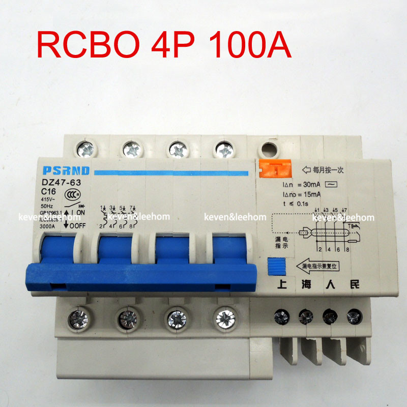 DZ47LE 4P 100A 220 380V Small earth leakage circuit breaker DZ47LE-100A Household leakage protector switch RCBO