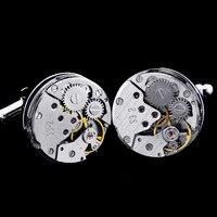 Limited Edition Hohe qualität metall Neue Mechanische Uhr Kern manschettenknopf männer + Freies Verschiffen!!! metallknöpfe