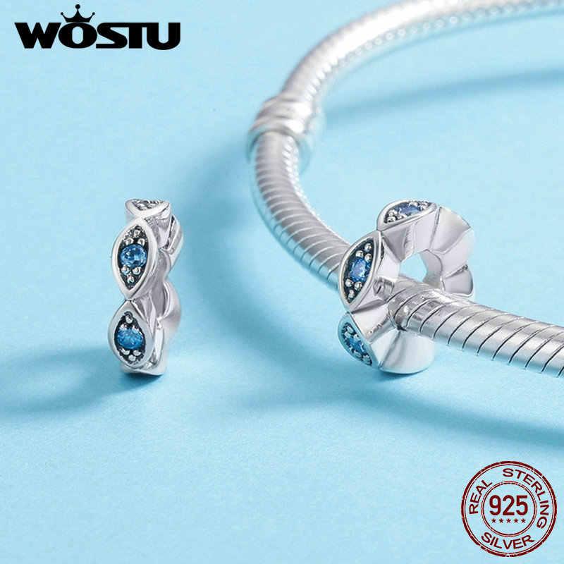 WOSTU 100% Sterling Beruntung Mata Biru Berkilauan CZ Spacer Pesona Manik-manik fit Asli Wanita Gelang Perhiasan DXC513