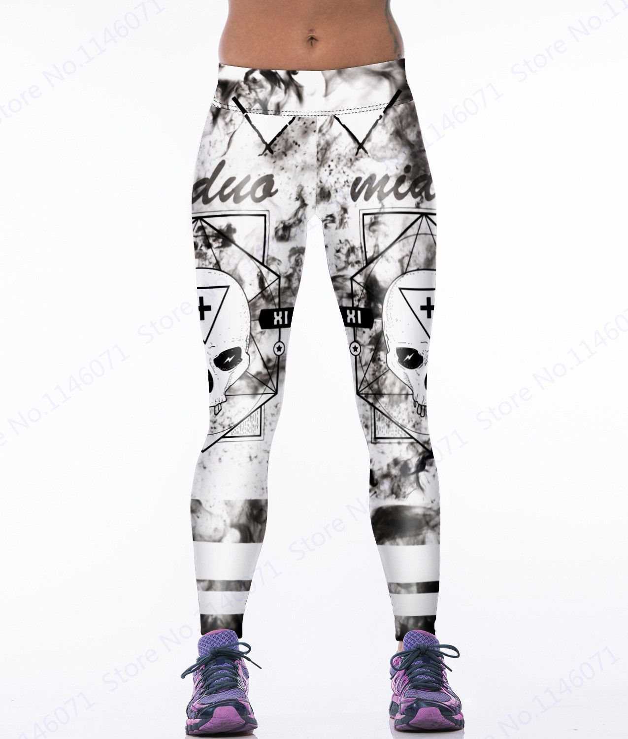 aad0351f214e22 Brown Leopard Skeleton Sports Compression Tight Vintage Flowers Skull Yoga  Pants Ladies Green Fitness Leggings White Gym Tights-in Yoga Pants from  Sports ...