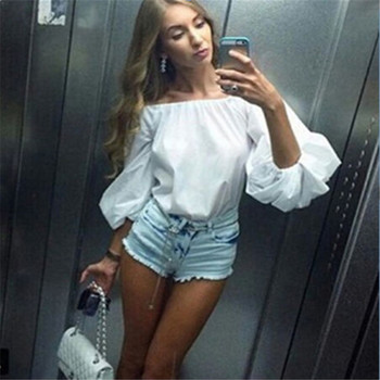 Tops Bubble Puff Sleeve Off Shoulder Solid White Pink cotton Casual T Shirt one pieces Fashion Women clothes Horizontal Neck blusa sexi animal print