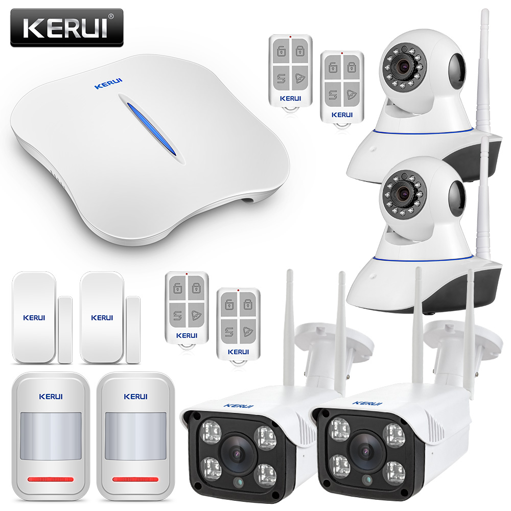 KERUI WIFI Alarm Systems Security Home Burglar Alarm Systems Wireless Home Alarm With 2ps Indoor WIFI Camera + 2ps Outdoor Camra