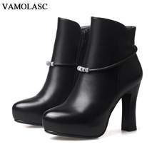 VAMOLASC New Fashion Women Autumn Winter Warm Leather Ankle Boots Sexy Zipper Square High Heel Martin Boots Platform Women Shoes