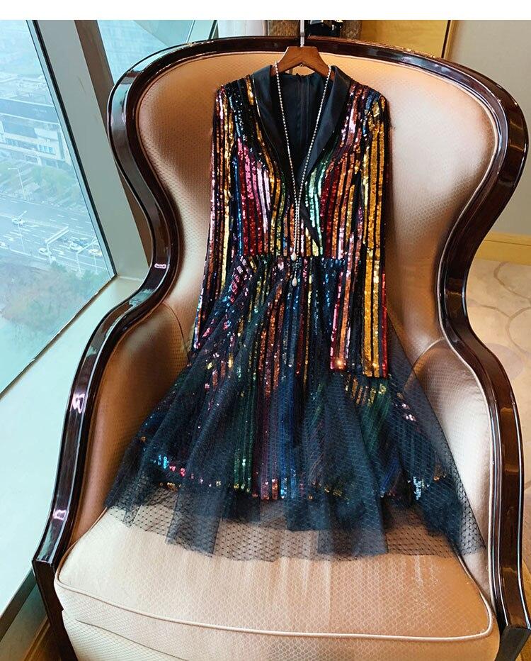 Célébrité femmes arc-en-ciel coloré paillettes genou longueur robe 2019 surdimensionné femme col en V maille Net dame fête robes de bal