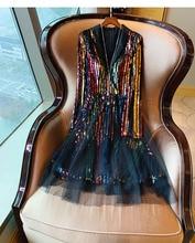 Celebrity Women Rainbow Colorful Sequins knee Length Dress 2019 Oversized Female V Neck Mesh Net Lady Party Ball Dresses