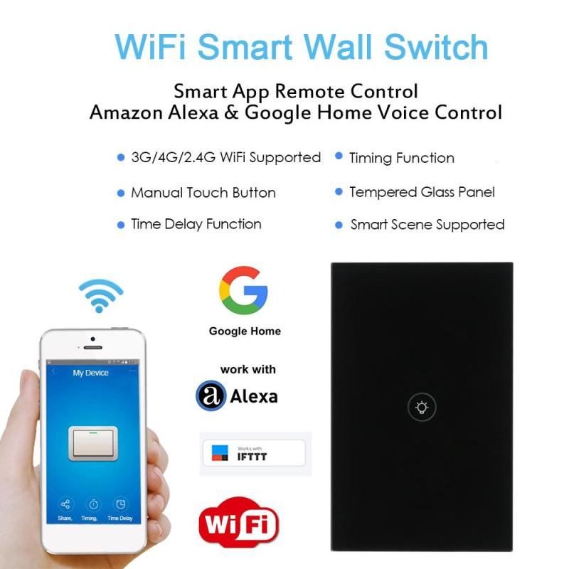 Image 3 - US WiFi Smart Switch Wireless Light Wall Switch 1 Gang Crystal Touch Panel APP Work with Amazon Alexa Google Home IFTTT Timing-in Remote Controls from Consumer Electronics