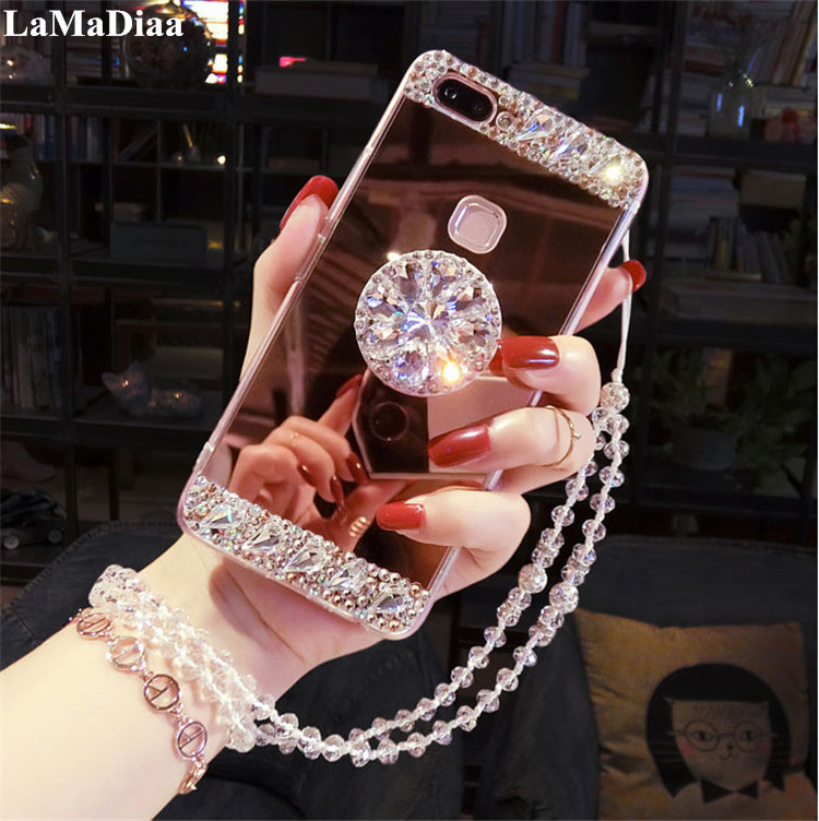 Luxury Diamond Case Cover For Samsung Galaxy J5 J6 J7 J8 A30 A50 A70 A6 A8 2018 Case Glitter Mirror Girls with Holder Stand Soft image