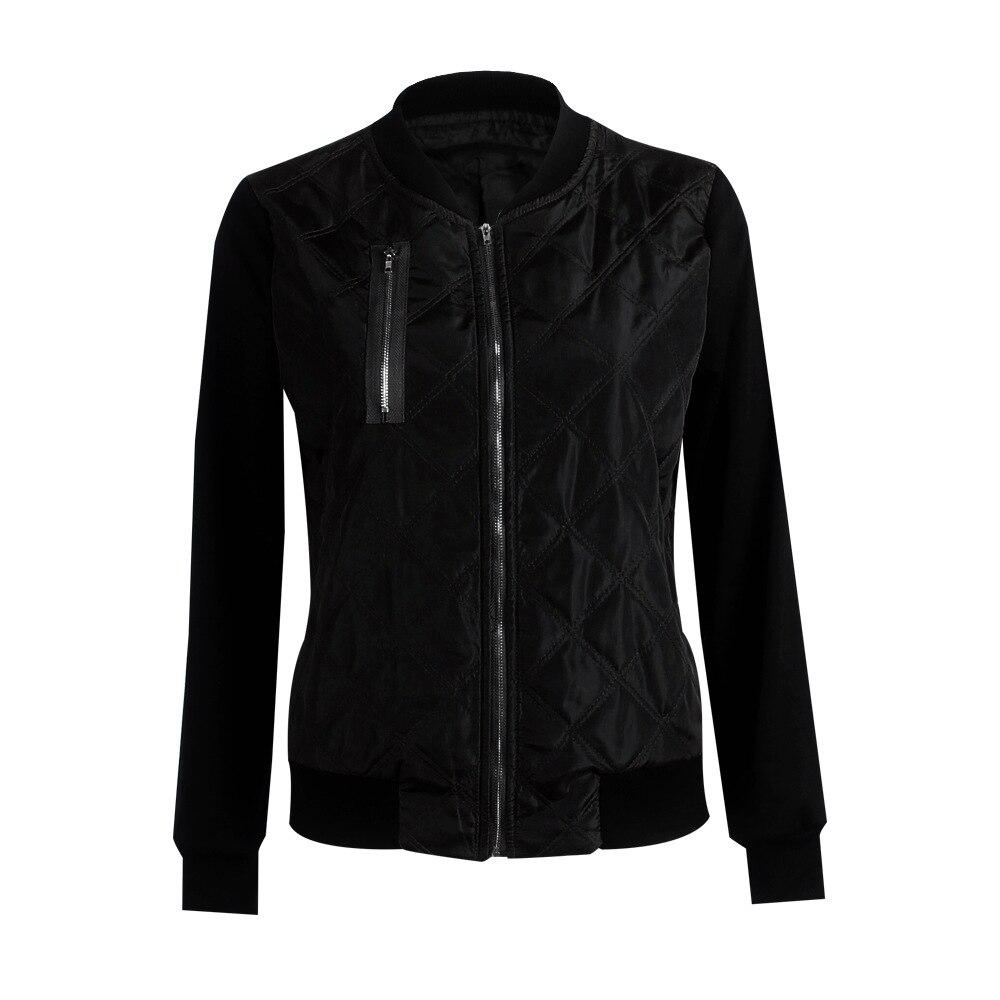 HTB1jeF0FCtYBeNjSspaq6yOOFXaX Plus Size Autumn Winter Fashion Slim Women's Jacket Zipper Cardigan Splice Bomber Jackets 2019 Long Sleeve Bodycon Coats Female