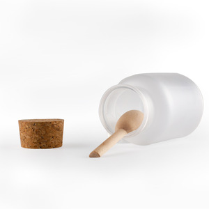 Image 2 - 200g/100g Plastic Cosmetic Empty Matte Cork Jar Bath Salt Bottle Women Mask Facial Container Refillable Bottle With Wood Spoon