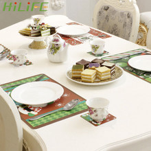 HILIFE Ornaments Christmas 6pcs 28*42cm Table Mat Heat Insulation Table Placemat 6pc 10cm Cup Mat Home Hotel Cafe Decoration(China)