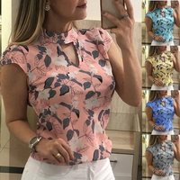 Chiffon Printed Short sleeved Women Shirt Petal Sleeve Tops Floral Blouse Size S 3xl Lady Shirts