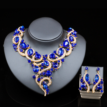 2017 Wholesale austrian crystal necklace and drop earrings jewelry set fashion for bride wedding party free shipping