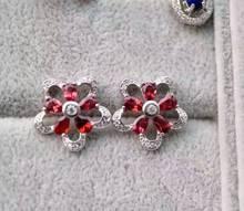 natural red garnet stone earrings 925 silver Natural gemstone earring women  elegant  fine Flowers Earrings for engagement
