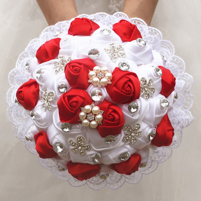 Gorgeous Red White Rose Wedding Bridal Bouquet Lace Crystal Brooch ...