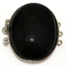3 ряда 30x40 мм эллиптический натуральный черный оникс ожерелье