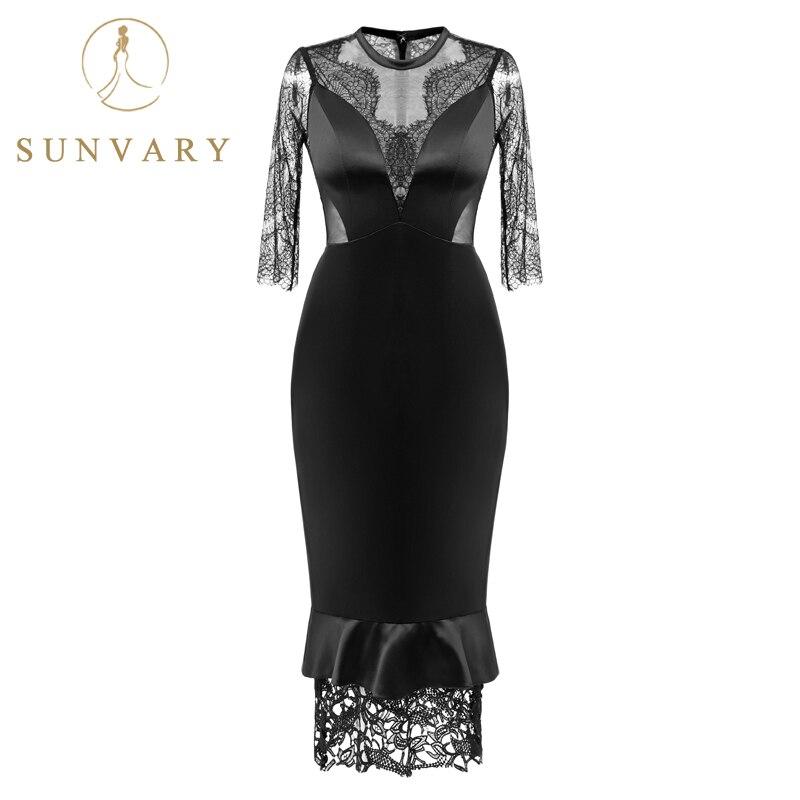 Արևածաղկի ժանյակավոր պատրանք Սև նոր - Հատուկ առիթի զգեստներ - Լուսանկար 2