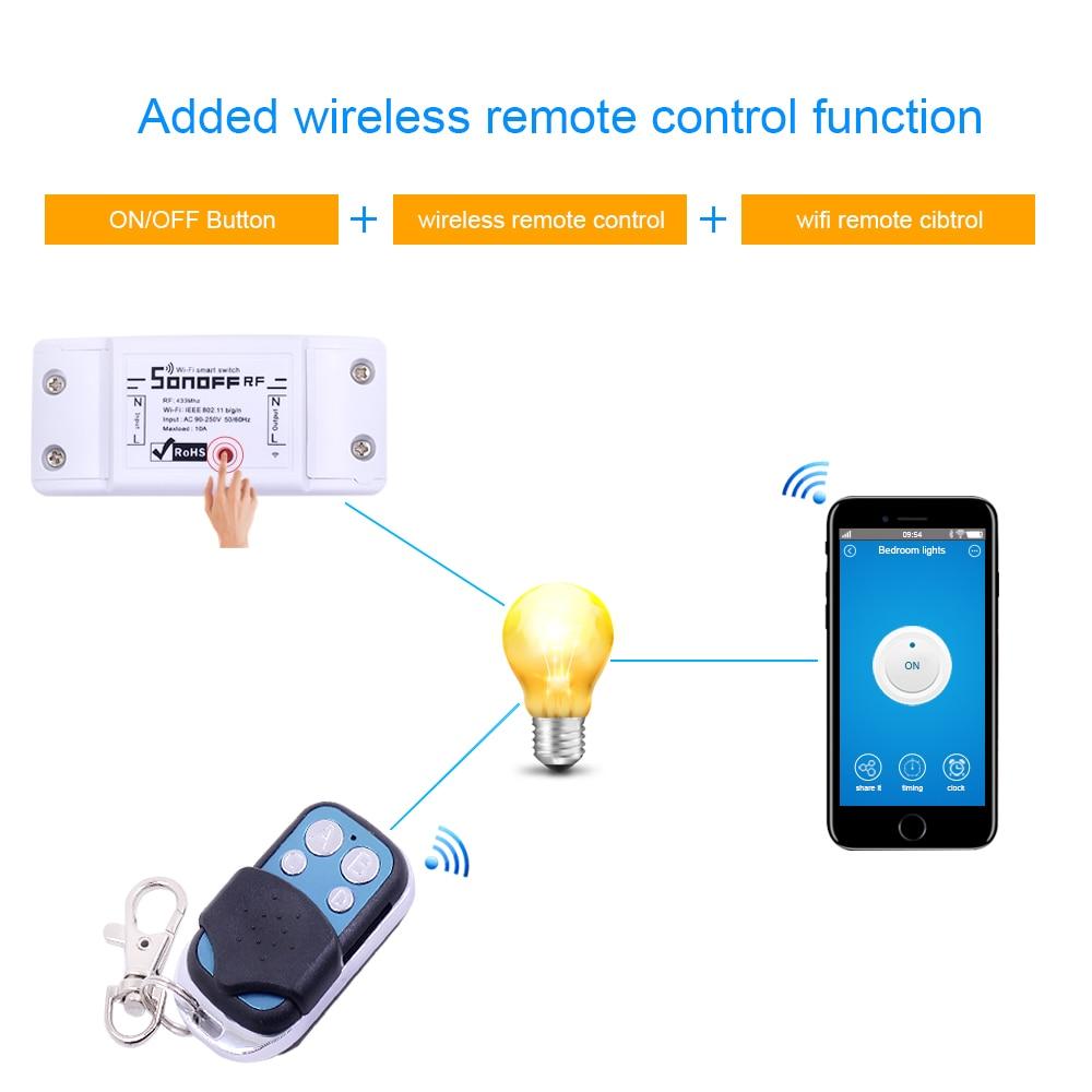 Умный переключатель Itead Sonoff, Wi-Fi, 433 МГц, радиочастотный приемник, беспроводной пульт дистанционного управления, DIY, домашний автоматический релейный модуль, таймер для Alexa