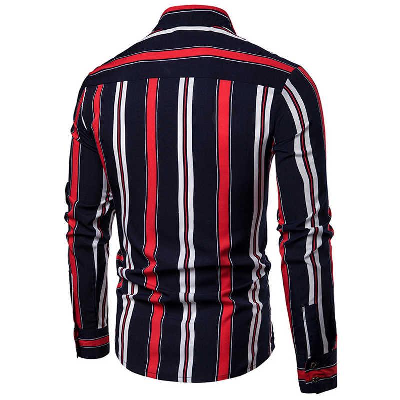 カジュアルシングルブレスト男性シャツ長袖卸売夏男性シャツストライププリント衣装シャツ男性用ストリート a736