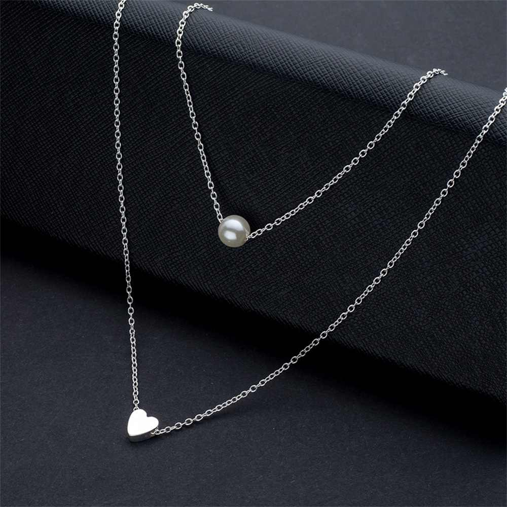 KISSWIFE Bohemia Simple fashion Imitation pearl love Heart Double layer Clavicle chain necklace accessories female Jewelry New