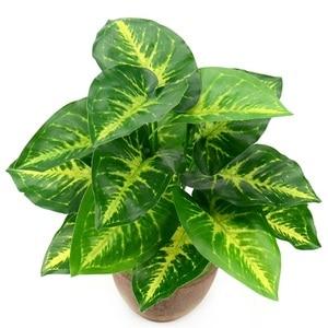 Image 2 - 1Bunch 28CM/48CM  Artificial Silk Green Scindapsus Aureus Leaf for Wedding Decorations Fake Bonsai Tree Plant  Accessories