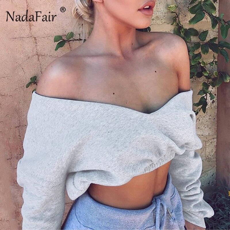 Nadafair Long Sleeve V Neck Sweatshirts Women Black Sexy Sho