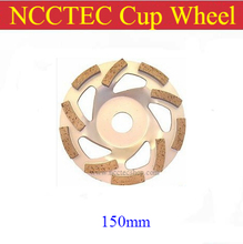 [Треугольник отверстия] 6 »NCCTEC Алмазные чашки Колеса (5 шт. в упаковке) | 150 мм Бетон шлифовальный диски | серебро сварки 10 сегментов