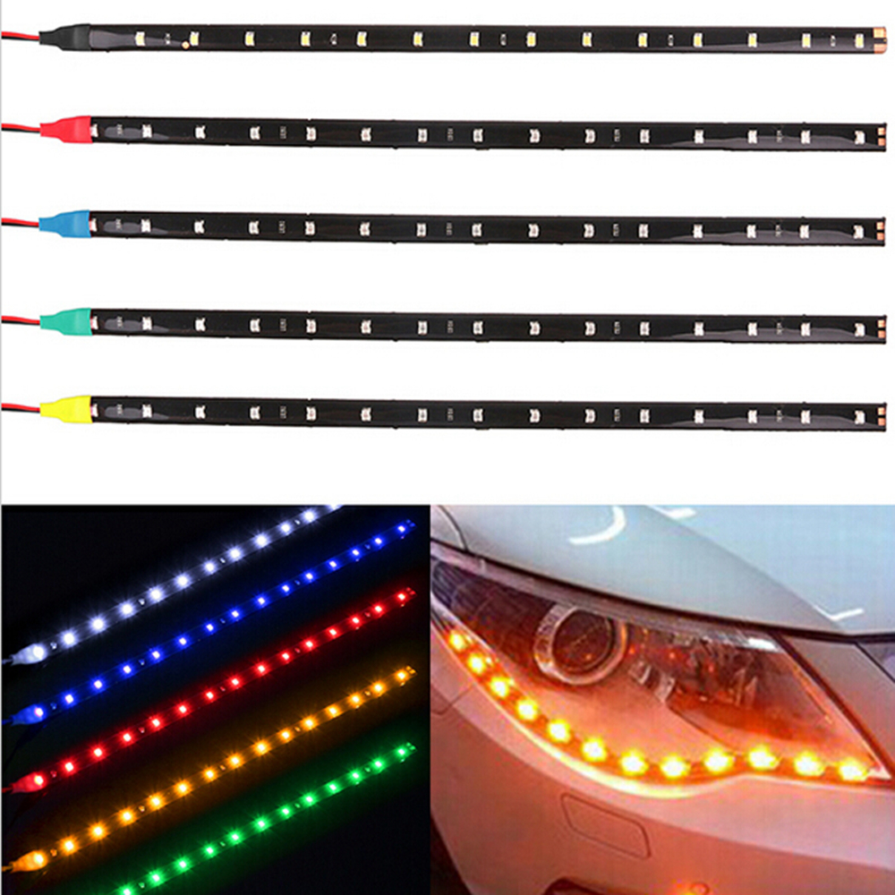 30cm Car Flexible LED Strip Light High Power 12V 11.8 15SMD Waterproof LED Daytime Running Light Decorative Car DRL 1 piece flexible 3w 132lm 6 smd 5050 led white car decorative daytime running light 12v 2 pcs