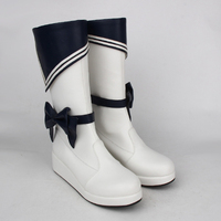Plus Size Spring Ladies Lolita Shoes Navy Boots Women Wedges Heels Bow Leather High Boots Princess