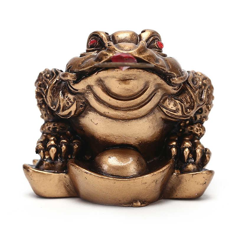Regalo de la suerte Feng Shui, pequeño dinero de Tres patas para sapo de La Fortuna, sapo chino moneda Metal artesanía decoración del hogar bronce y Color caoba