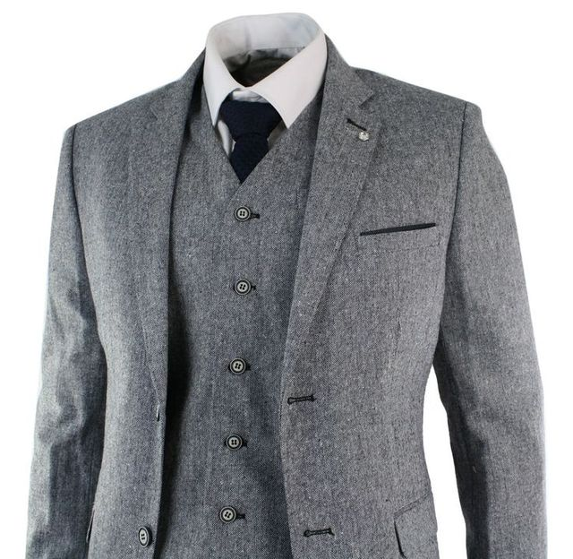 Latest Coat Pant Designs Winter Grey Black Tweed Men Suit Jacket