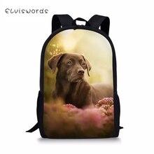 ELVISWORDS Fashion Kids School Bags Black Labrador Pattern Children Book Travel Backpack Toddler Boys Girls