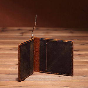 Handarbeit Echt Leder Geld Clip Dollar Brieftasche für Coole Männer Vintage Metall Geld Klemmen mit 4 Karte Bit Hohe Qualität kuh Leder