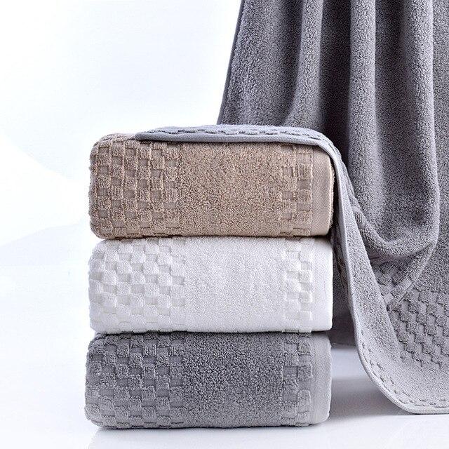 Free Ship Luxury Terry Cloth Cotton Bath Towel Brand Home Hotel Plaid Camping Shower Towels Bathroom Serviette De Bain 70x140cm
