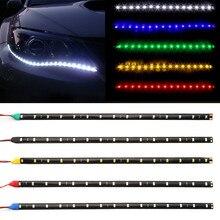 """Дневные ходовые огни 12 В 11,"""" 15SMD Водонепроницаемый светодиодный дневного света 30 см автомобилей гибкие Светодиодные ленты свет декоративные автомобильные DRL автомобилей для укладки"""