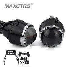 2x Universal HID Bi xenon Fog Lights Projector Lens Driving font b Lamps b font Retrofit