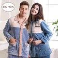 Free Shipping New Arrive Winter Tcoral Fleece Lovers Plus Size Full-sleeve Blue Color  Sleepwear
