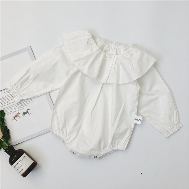 0512fa9f5fce 2018 New Stylish Girls Boys Ruffles Rompers Long Sleeve Solid Color Kids  Jumpsuits -in Rompers from Mother   Kids on Aliexpress.com