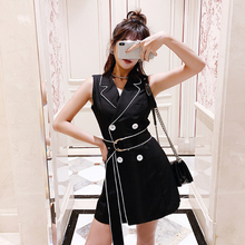 Spring and summer new style Fashion black suit  dress Waist Double-breasted vest