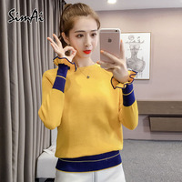 SimAI 2018 autumn new small sweater lotus leaf sleeves knitted sweater body woman loose sweater O neck long sleeve sweater