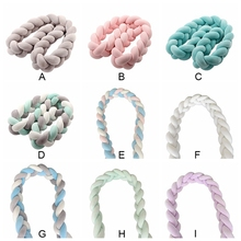 New Braided Nursery Bed Cradle Decor Corlorful Bed Bumper Children Room Hand Woven Knots Crib Baby Bed Bumper Newborn Knot Gift