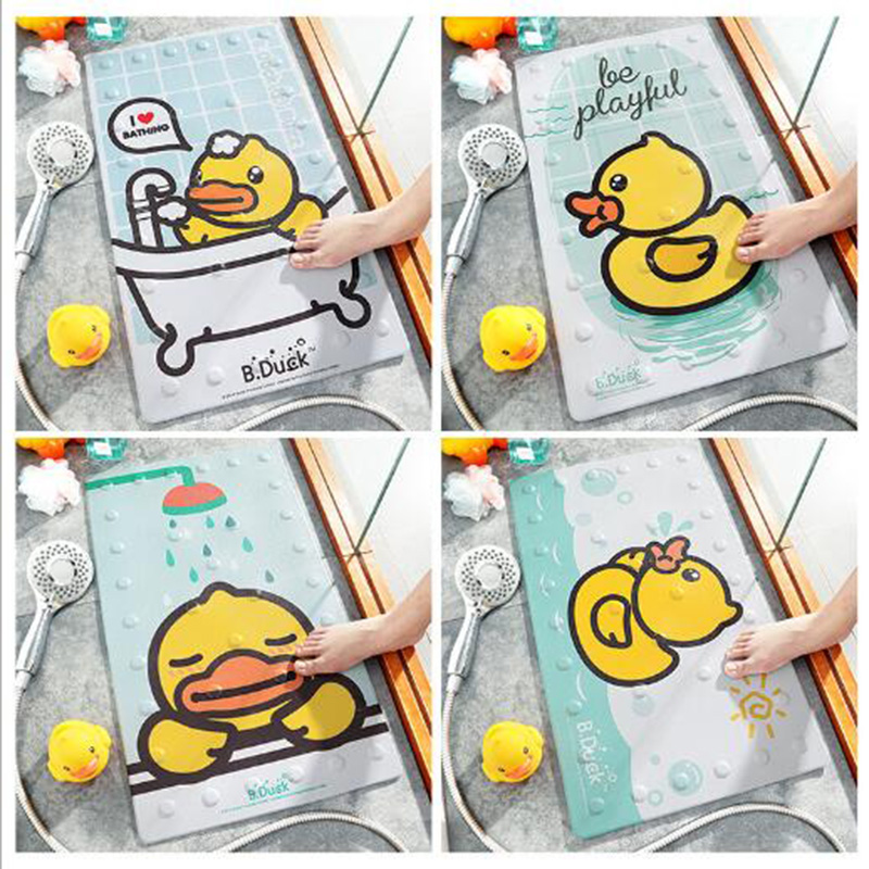 Cute Yellow Duck Multipurpose Rubber Bath Mat For Shower Spa Sauna With Non Slip Feet Indoor Outdoor Use For Kitchen Bedroom Bat