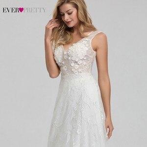 Image 5 - אלגנטית תחרה חתונה שמלות אי פעם די EZ07832CR אונליין V צוואר הכלה Boho שמלות כלה Vestido דה Noiva 2020 טול Mariage