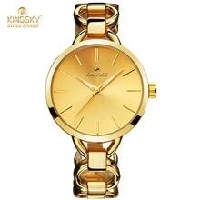 Kingsky Lujo Cuarzo de Las Mujeres relogio feminino Relojes de Moda de Lujo Relojes de Oro Para Las Mujeres Señoras de La Manera Relojes ginebra Hodinky