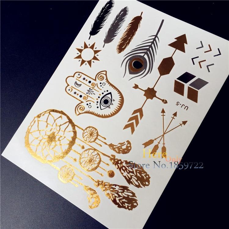 1 pieza de oro plata Flash tatuaje hombres mujeres Henna UJ05 Ojo de mano indio Hamsa Pavo Real Feacher atrapasueños tatuaje temporal impermeable