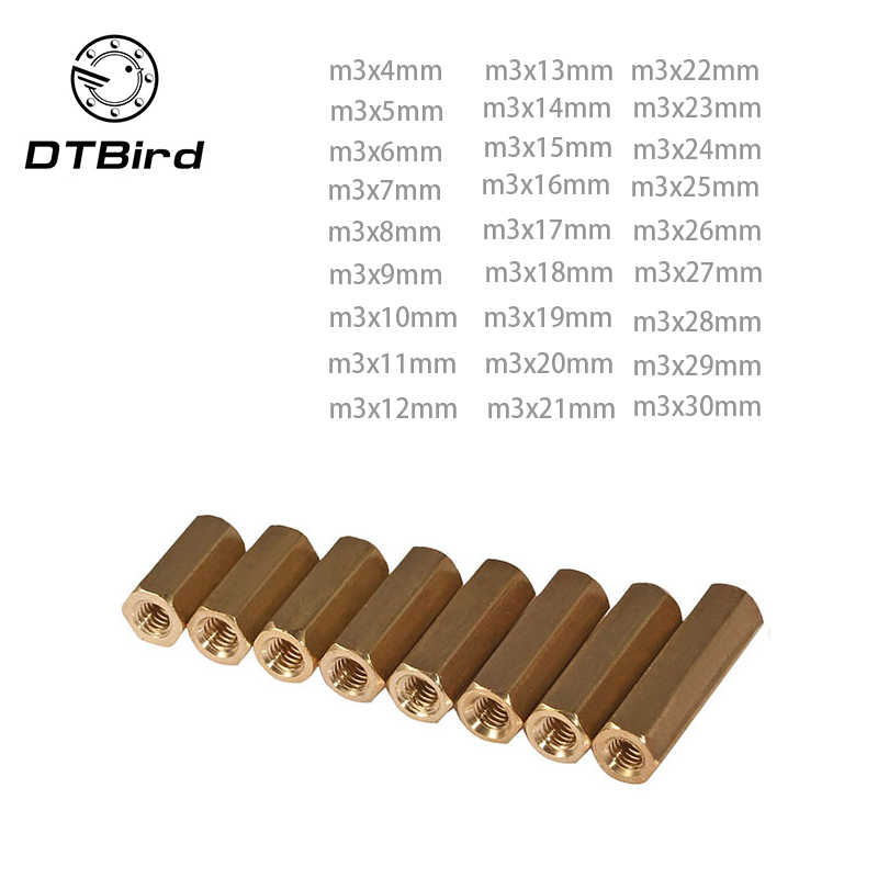 100pcs m3 brass spacer M3*5/6/7/8/10/11/12/14/15/16/18/20/25/30 Female To Hex Standoff Double Flat copper Hollow cylinders 20pcs m3 copper standoff hollow spacer stud female m3 4 hexagonal stud length 4 5 6 7 8 9 10 11 12 13 14 15 16 18 20 22 25 30mm